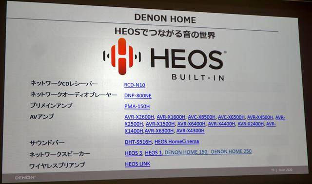 画像: デノンのHEOS対応機器。スピーカー以外にAVセンターやサウンドバーと組み合わせてマルチルームも楽しめる