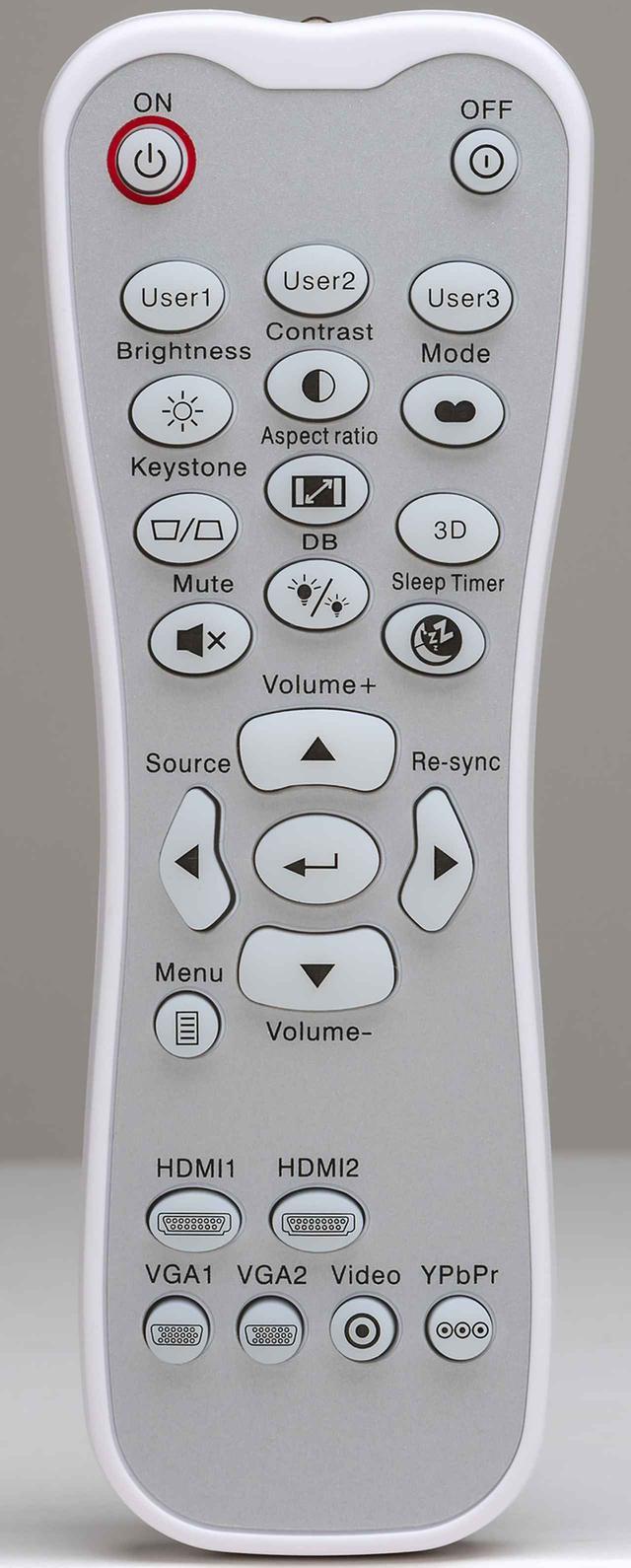 画像: ↑リモコンのボタンが点灯し、暗い視聴環境でも操作性にすぐれる。明るさやコントラストの調整メニューがすぐに呼び出せる