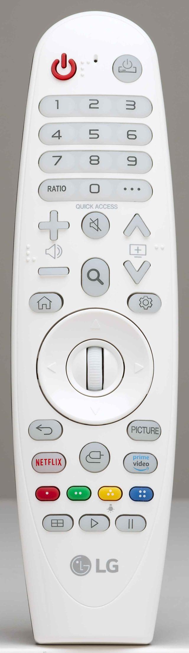画像: ポインターのようにプロジェクター操作ができ、フォーカスの調整も可能。またネットフリックスやアマゾンプライム・ビデオを起動するショートカットボタンもある