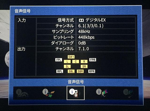 画像: ヤマハCX-A5100でDVDの音を確認してみたら、6.1chのドルビーデジタルEXとして認識されていました