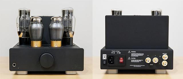 画像: 管球式ヘッドホンアンプの「Euforia」。接続端子はアナログ入力1系統とヘッドホン端子が1系統、さらにアナログアウトも備えており、プリアンプとしても使用可能。クロスフェード機能の切り替えは背面(右の写真)向かって左端のボタンで行う