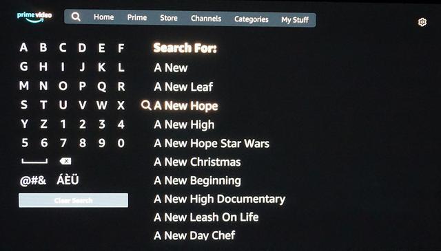 画像: Prime Videで『A New Hope』を検索