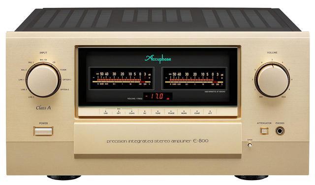画像: Accuphase E800 ¥980,000+税 ●出力:50W(8Ω)、100W(4Ω)、200W(2Ω)、300W(1Ω) ●接続端子:アナログ音声入力8系統(RCA×5、XLR×3)、レコーダー入出力1系統(RCA)、プリアウト2系統(RCA、XLR)、メイン2系統(RCA、XLR) ●寸法 / 質量:W465×H239×D502mm/36kg ●問合せ先:アキュフェーズ(株)