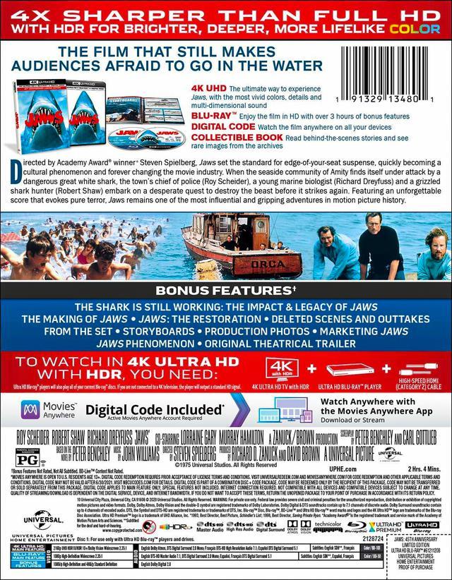 画像2: 《UPDATE》スピルバーグの大傑作が4K化『JAWS/ジョーズ:45周年記念版』【海外盤Blu-ray発売情報】