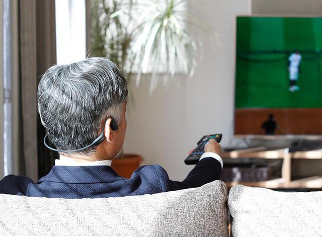 画像: 骨伝導ワイヤレス ヘッドホン テレビ用 トランスミッター付き