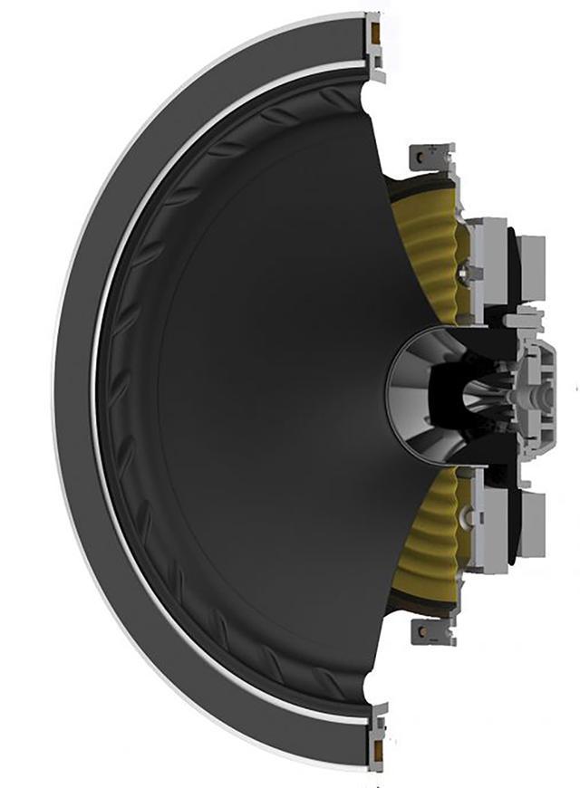 画像: ファイン・オーディオが誇るポイントソース(同軸)システムが「ISOFLARE(アイソフレアー)」。トゥイーターとウーファーのコーン形状を解析し、高域エネルギーを360度に拡散放射する複合曲線を導き出したものだ。ユニットのエッジの溝は、有害な共鳴作用を駆逐する「FYNEFLUTE(ファイン・フルート)」と呼ばれる独自技術