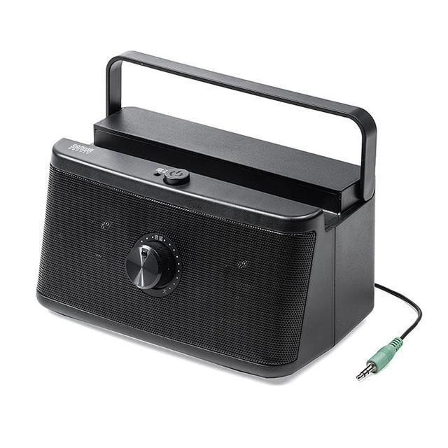 画像1: サンワサプライ、テレビの音を手元で聴けるテレビ用スピーカー「400-SP087」を発売。乾電池、USB給電の2ウェイ式で、持ち運びも簡単
