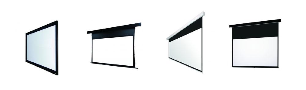 画像: ▲左から「張込スクリーン」「サイドテンション電動スクリーン」「電動スクリーン」「手動スクリーン」
