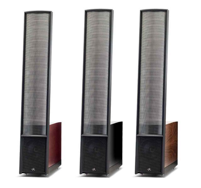 画像: 静電式スピーカー「Classic ESL 9」。左からダークチェリー、グロスブラック、ウォールナット