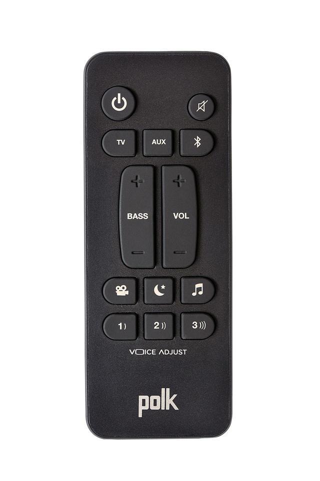 画像: 付属のリモコン。音声モード、Voice Adjus機能のダイレクト選択が可能