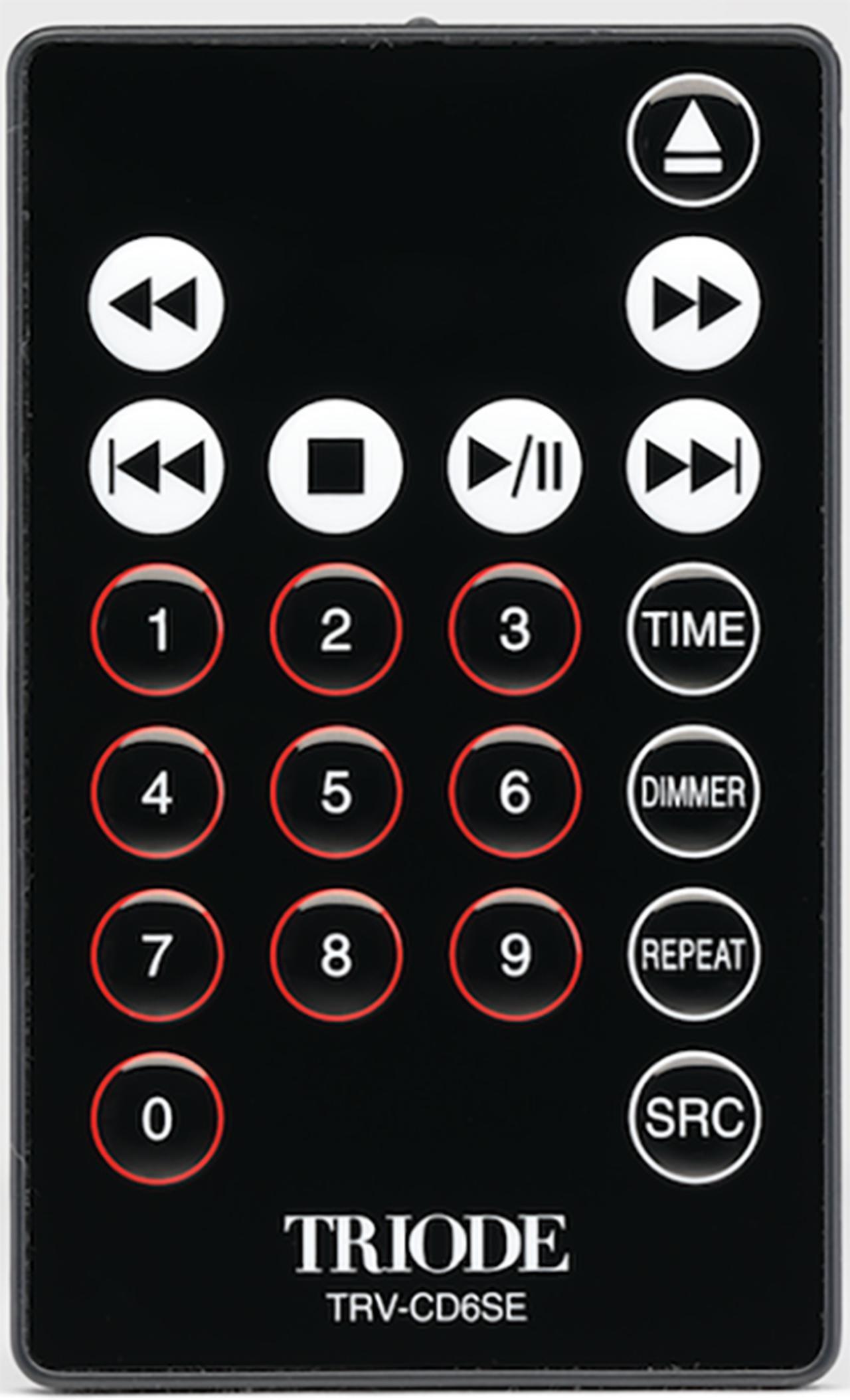 画像: 付属のカード型リモコンは、10キーを備える。