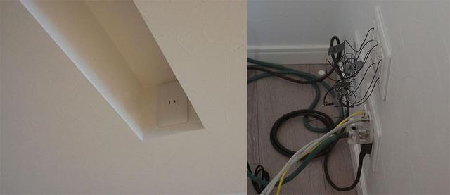 画像: リビングルームという環境を考え、AV機器などが極力目に入らないようにしている。左はスクリーンボックスを収納する天井の切り込みで、スピーカーケーブルは右のように壁内通線している