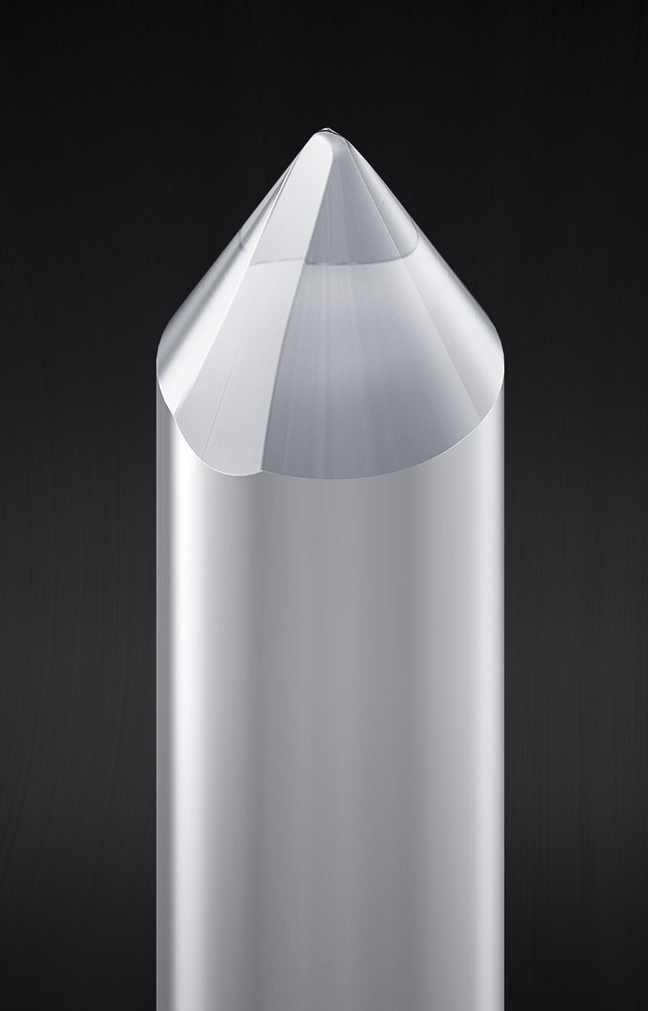 画像: AT-VM95ENに採用の無垢楕円針の針先イメージ。先端曲率半径はVM95Eと同じ0.3×0.7mil。