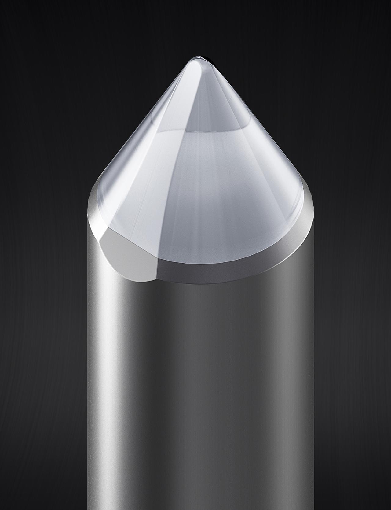 画像: AT-VM95Eに採用の接合楕円針の針先イメージ。先端曲率半径は0.3×0.7mil。