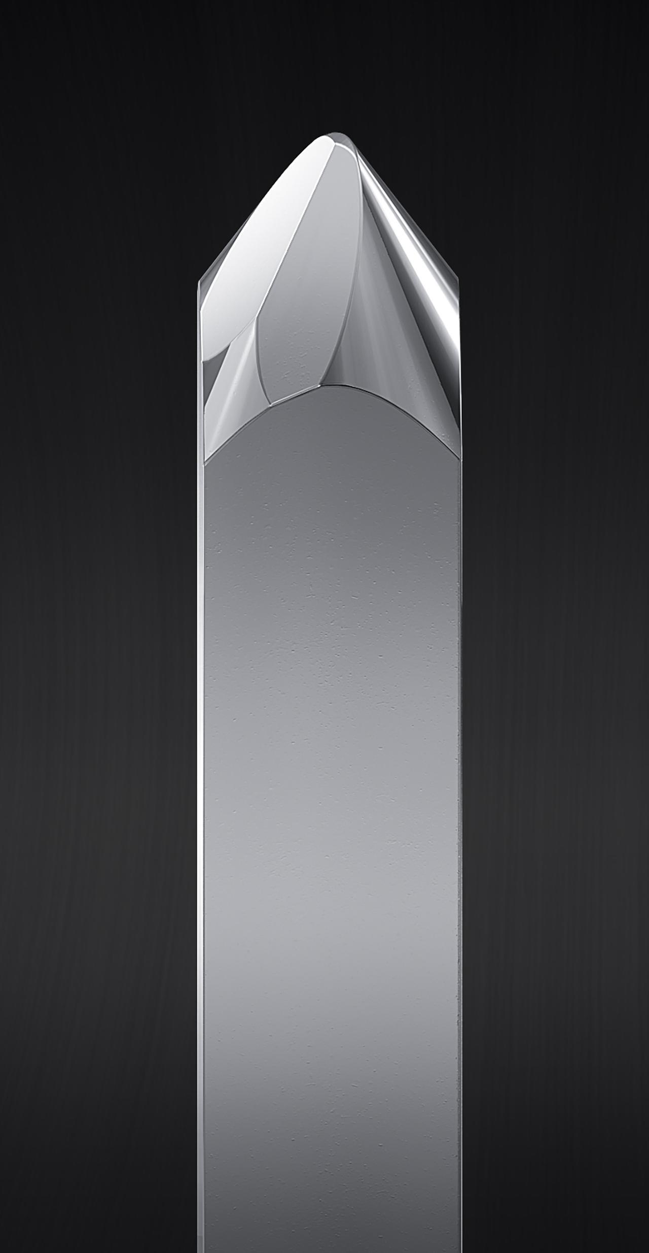 画像: AT-VM95SHに採用の無垢シバタ針の針先イメージ。先端曲率半径は2.7×0.26mil。