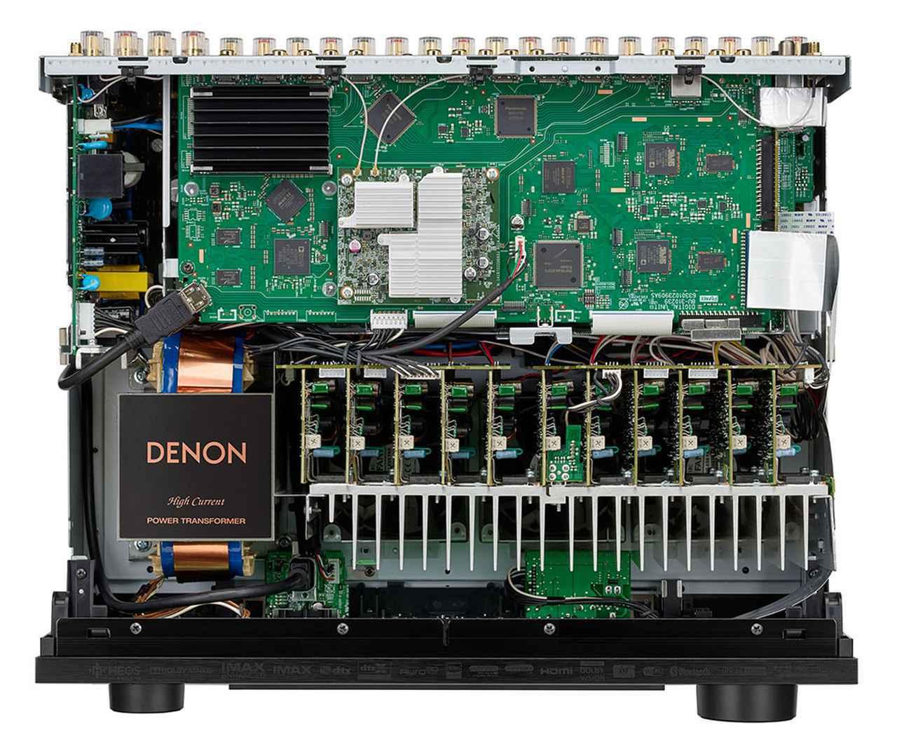 画像: X6700Hの内部構造。写真右側手前に11chぶんのパワーアンプ基板が並んでいる