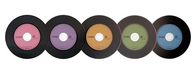 画像: 中心部分はレッド、パープル、ブラウン、グリーン、ブルーの5色で、サインペンなどでタイトルの記入もできる