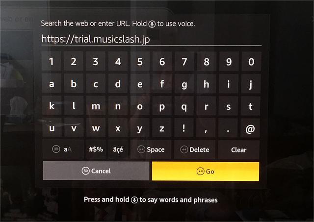 画像: Silkの画面から、music/slashのURLを打ち込むと、すんなりトップページが表示された