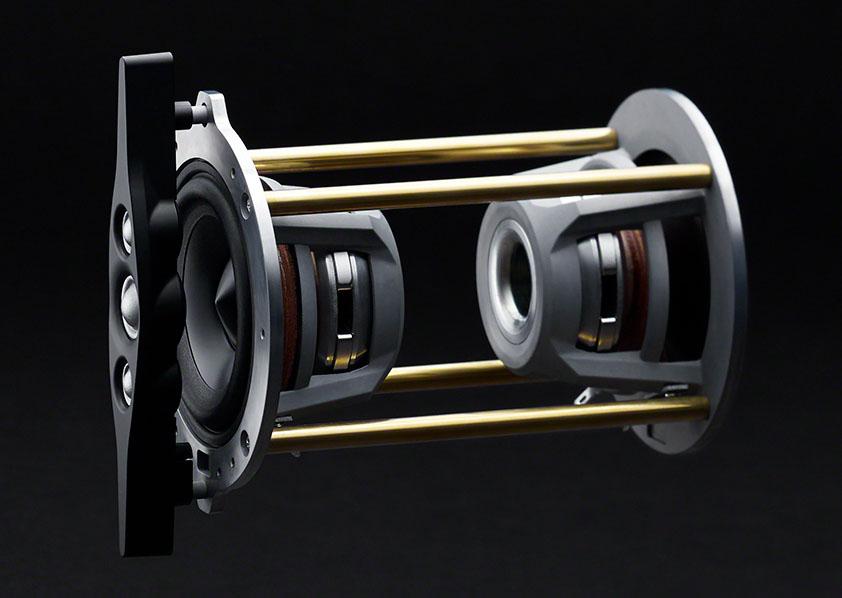 画像: SA-Z1のユニット配置。写真左端が3つのトゥイーターを縦に配列したI-Arrayで、中央が鼓レイアウト。背中合わせにつながれたふたつのウーファーを同相駆動することで、振動を打ち消している