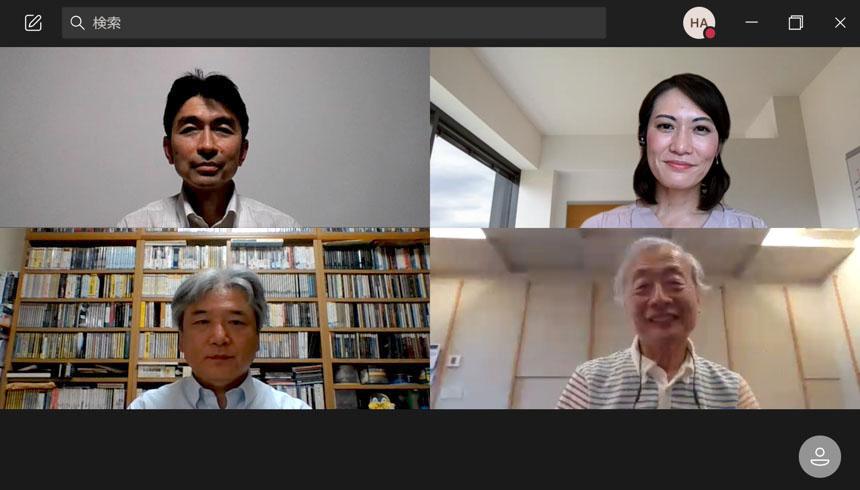 画像: 取材はリモートインタビューで実施した。左上が塩原秀明さん、右上が尾木加奈子さん、左下が加来欣志さん。麻倉さんはStereoSound ONLINE試聴室においでいただき、SA-Z1の音を聴きながらインタビューに臨んでもらった