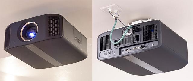 画像: 4K/HDR対応機として潮さんから推薦されたのは「DLA-V9R」と「DLA-V7」。予算の関係からV7になったとのことだが、再現されている映像はとても高品位で不満はまったくなし! AVセンター「AVC-X8500H」からの映像はエイム電子の光変換HDMIケーブルでつながれている(もちろん天井内通線)