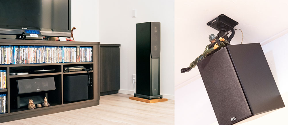 画像: 奥様の希望を受けて、サブウーファーはテレビラックに収納できるサイズを新規導入した。トップ&リアスピーカーのエラックBS203.2も以前のシアターから愛用しているお気に入り