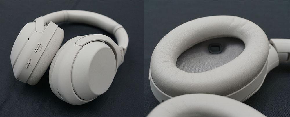 画像: 電源ボタン等の配置は前モデルから変更されていない。左ヘッドホンの内部に装着検出用の人感センサーを内蔵している(右写真の奥にある小さなくぼみがセンサー部)