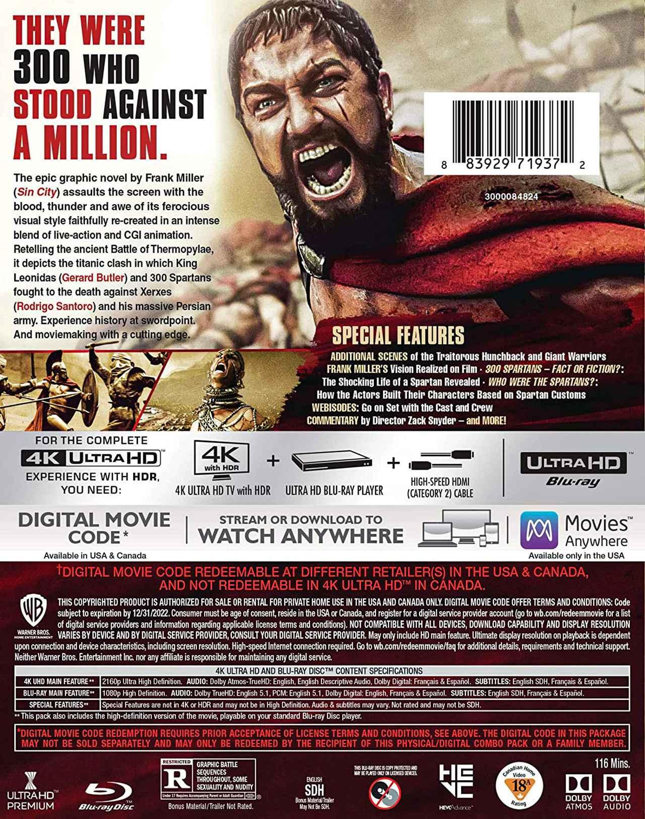 画像2: 4K&アトモスで楽しむ『300 <スリーハンドレッド>』【海外盤Blu-ray発売情報】