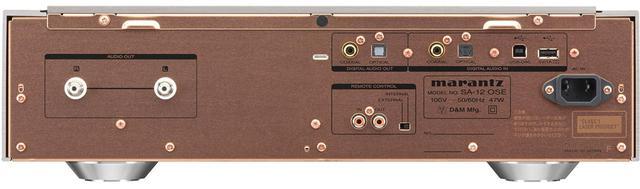 画像: リアパネルを見る。左にRCAアンバランス出力端子、右上にデジタル入出力端子を配する。上位機SA10と同様の銅メッキシャーシ、アルミ削り出しインシュレーター、5mm厚アルミ天板を採用し「OSE化」で筐体の強化が図られた。