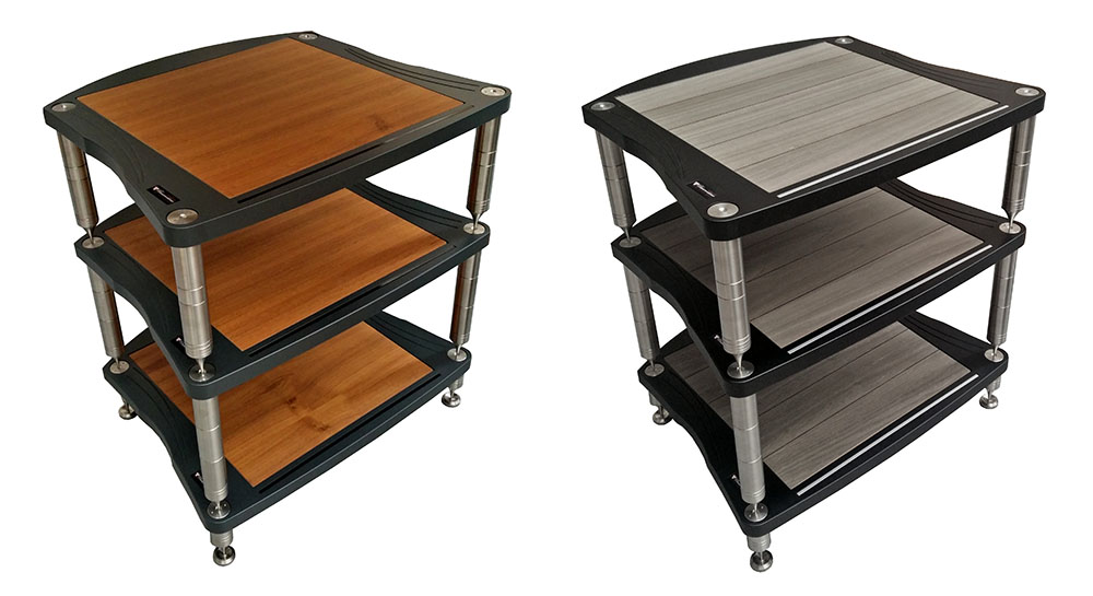 画像: フルモジュラー・オーディオ・ラック「ACCORDEON」の組み合わせ例。左がステルス仕上げで、右がボルトフィーノ仕上げ