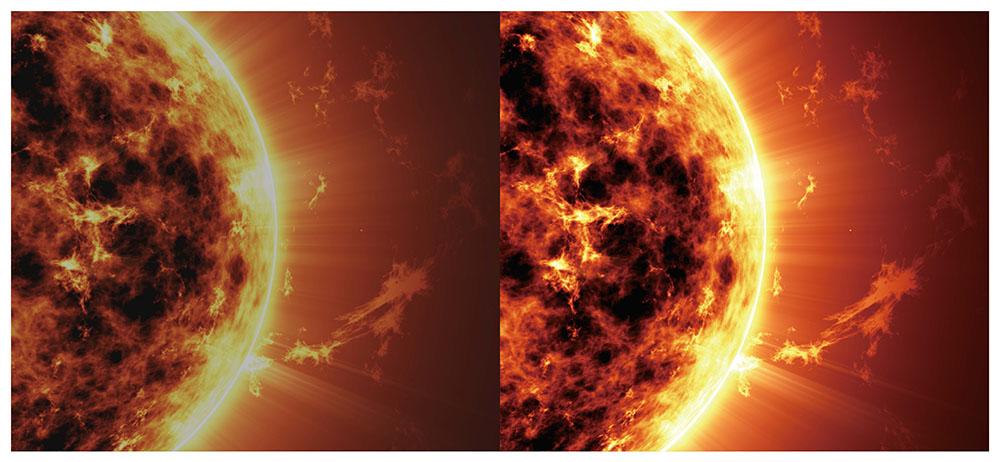 画像: 「ダイナミックHDRエンハンサー」の効果のイメージ。オンにした状態(右)では中央部の太陽の輝きが増し、さらに映像右端の宇宙空間が暗く沈んでいる