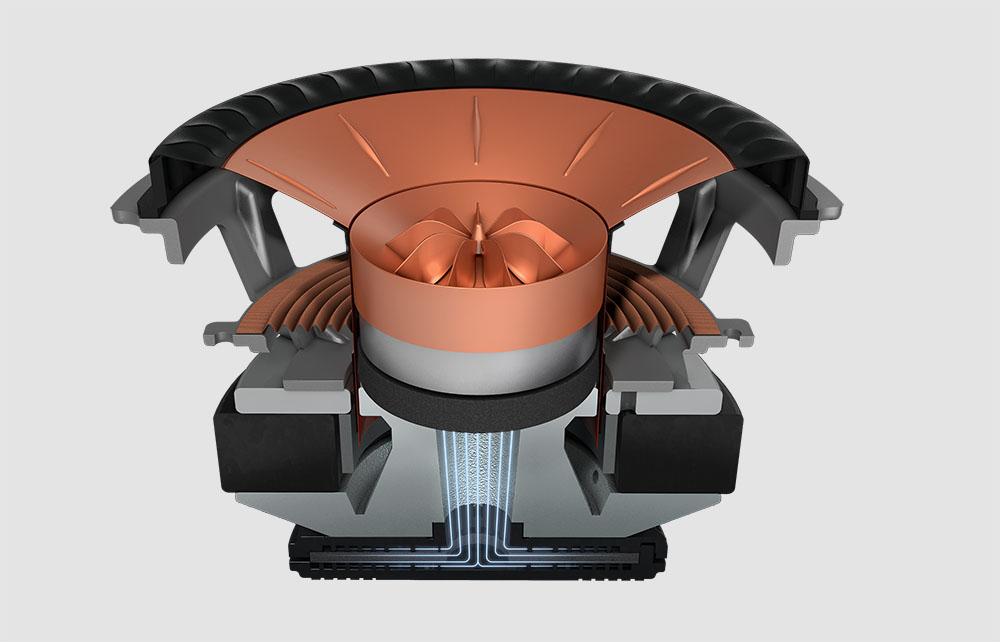 画像: 12世代Uni-Qの構造図。図の下側、ドライバーの後ろに取り付けられた黒い円盤が吸音機能を備えたMATだ。トゥイーターからの背圧をドライバー中央に設けられた円柱状のチューブを通してMATに導き、ここで吸音することでクリアーな高音再生を実現している