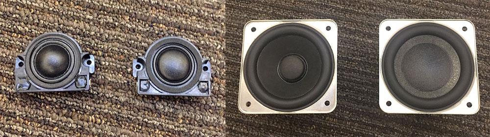 画像: トゥイーターやウーファーのユニットも前モデル「SC-C70」から改良されている。写真はそれぞれ左が前モデルで、右側がSC-C70MK2に搭載された新パーツとなる。トゥイーターのドームの高さやウーファーの中央部の構造などに違いが見える