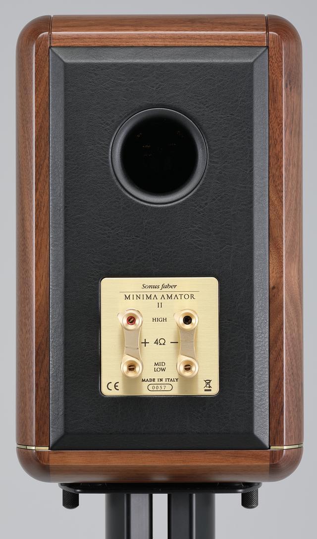 画像: バスレフポートをリアに装備。入力端子はバイワイヤリングに対応。