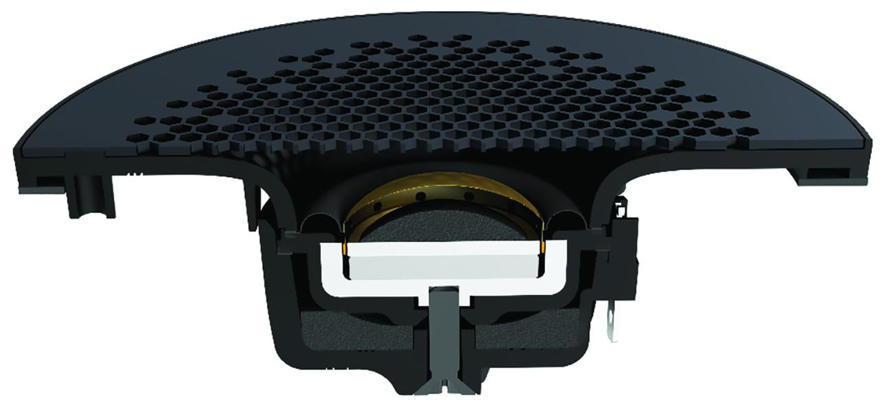 画像: トゥイーターには、高い透過性とデザイン性を併せ持った、 ハニカム状パターンのパンチングメタル・グリルを採用。また、「UDウェーブガイド」を搭載することでいっそう高域の放射特性・指向性が向上した