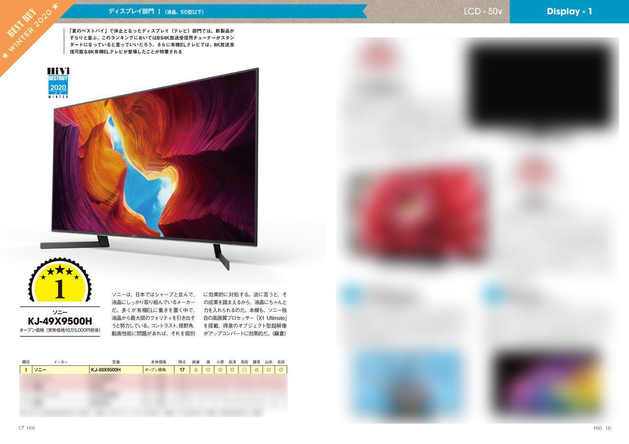画像: 1年ぶりに復活した「ディスプレイ」部門は新製品ばかり。サイズごとの液晶/有機ELテレビのランキングが一目瞭然。もちろん、重視されるのは画質です