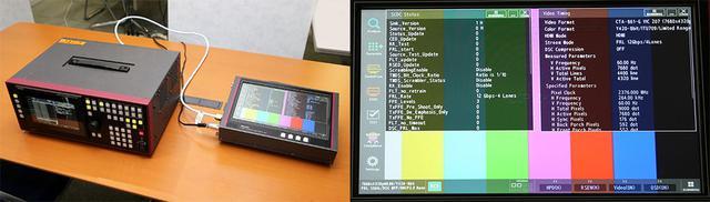 画像: 左はデジタルビデオ信号発生器「VG-879」で、右がHDMI2.1プロトコルアナライザー「VA-1847」。右側の写真は「VA-1847」によるケーブルの測定結果で、エラーが発生した(信号が通らない)場合はこの画面に赤文字で表示される。「HD-8」は全項目問題なしという結果がでた