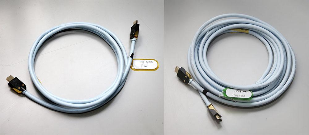画像: 北澤さんが検証用に持ってきてくれた「HD-8 HDMIケーブル」。左が2mで、右は5m。太さはどちらも同じだ