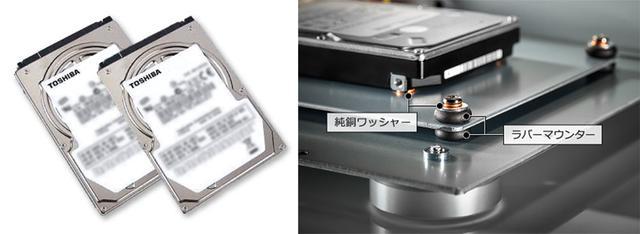 画像: 「HFAS1-HN80」は東芝製HDDを2基内蔵。純銅ワッシャーやラバーマウントを使い、向かい合わせに配置している