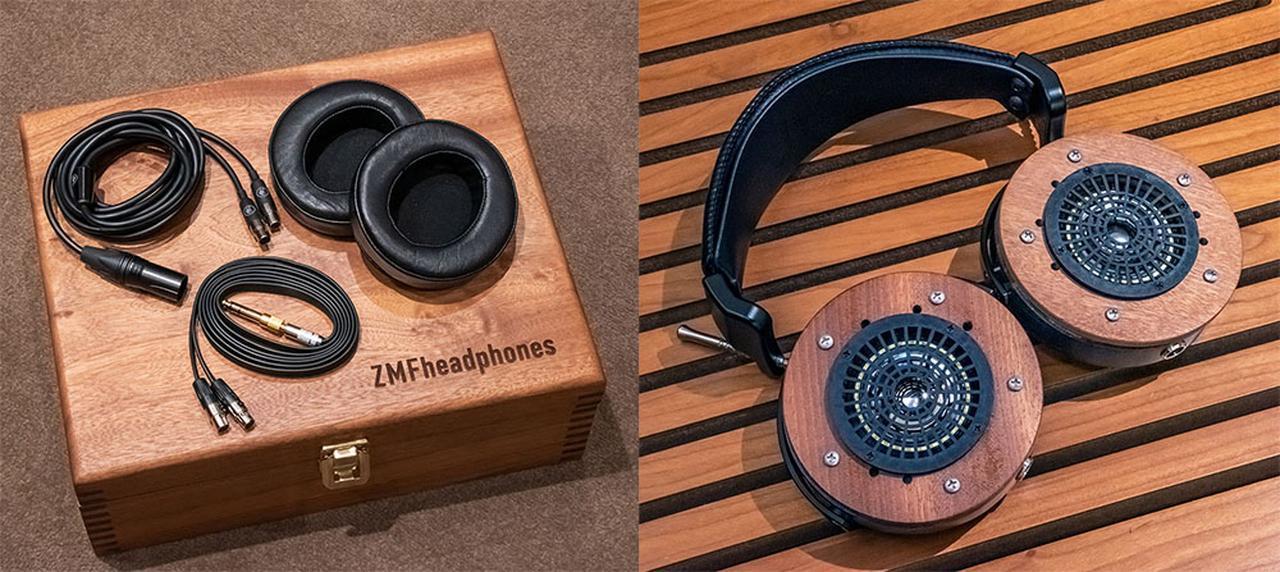 画像: 写真左は付属品一式。6.5mmピンジャックとXLRコネクターの2種類のケーブル、さらにユニバースパッドも同梱されている。右の写真はイヤーパッドを外したところ。この奥に50mmドライバーが取り付けられている