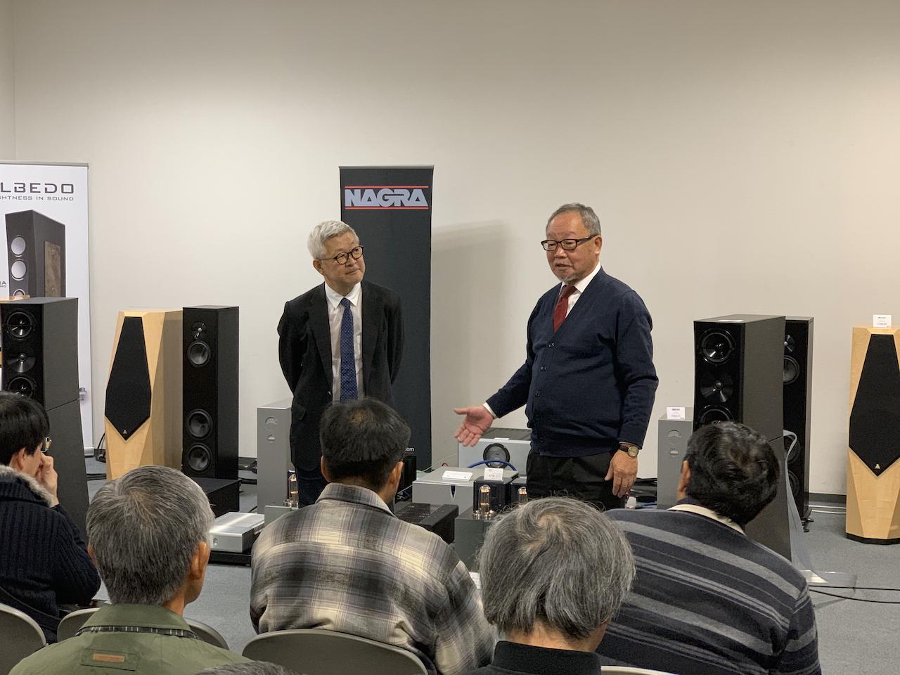 画像: こちらは2018年に開催された時のようす。右はマックスオーディオ社長の大原晴三氏。オーディオ評論家の和田博巳先生の講演にて