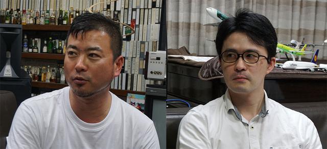 画像: インタビューにご協力いただいた、U-NEXT COOの本多利彦さん(左)と事業企画担当部長の柿元祟利さん(右)。おふたりともホームシアターに感心をお持ちとかで、麻倉邸の絵と音に感動している様子でした