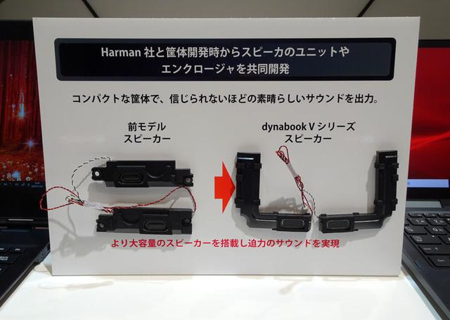 画像: 新dynabook Vシリーズに搭載された新スピーカーユニット(写真右)