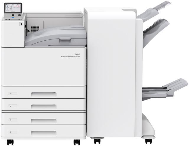 画像: 右側のボックスは、ホチキス留めや中綴じが自動で行なえるオプションの「フィニッシャ」(対応は3C750のみ)