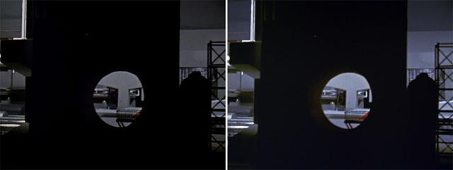 画像: 第1話「姿なき挑戦者」でのウルトラホーク1号発進シーン。壁越しのアングルなど、ミニチュアでいかに奥行、立体感を出すかを当時のスタッフが必死で考えたことがわかる。右の4K/HDRではその狙いを見事に再現している