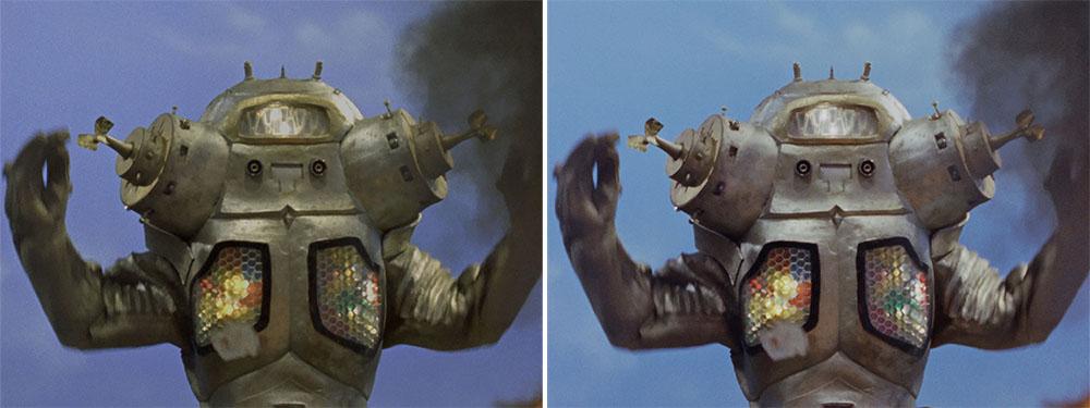 画像: 第14〜15話「ウルトラ警備隊西へ」前後編に登場した人気キャラクター、キングジョー。これまでそのボディはゴールド(左)という印象が強かったが、4K/HDRリマスターされて、プラチナに近いということもわかった(右)