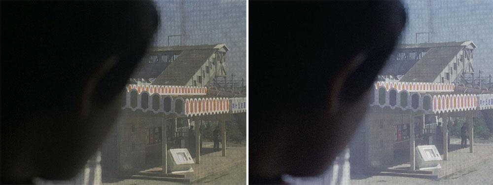 画像: 同じく第8話より。左の2K/SDRと右の4K/HDRでは空や駅舎の表現も大きく異なっている