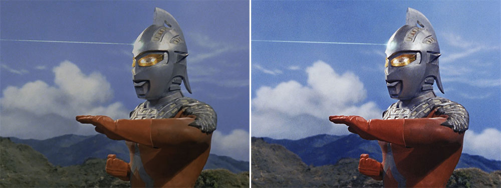 画像: 第3話「湖のひみつ」より。左が2K/SDRで、右は4K/HDRリマスターされたもの