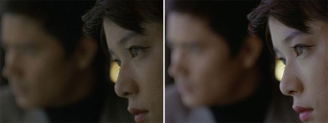 画像: 第8話「狙われた街」より。被写界深度の浅いレンズを使ってダンとアンヌそれぞれの表情を印象的に捉えたカット。4K/HDR(右)では手前のアンヌの鋭い眼差しや、奥のダンがどんな表情をしているのかもきちんと識別できている