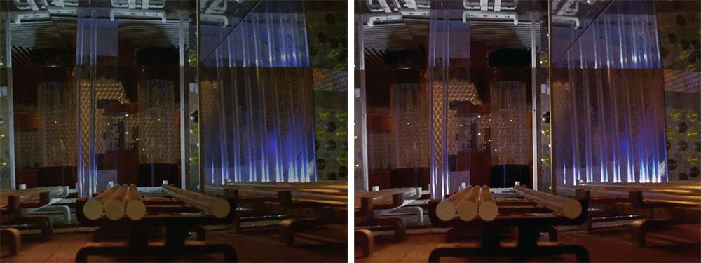 画像: 第17話「地底GO! GO! GO!」では、巨大な地下都市をどんな明るさで再現するかもテーマになったという。左の2K/SDRに比べて4K/HDRでは光を放つ建造物の再現も変化している